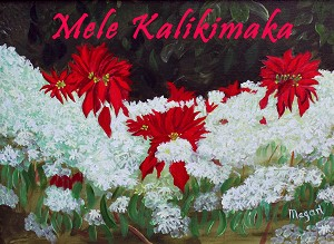 """Hawaiian Snow"" Holiday Card 4 Pack - ""Mele Kalikimaka"""