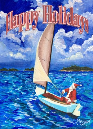 """Sailing Santa"" Holiday Card 4 Pack - ""Happy Holidays"""
