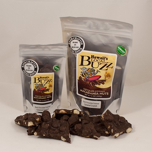 Dark Chocolate Covered Cinnamon Bun Crunch Macadamia Nuts - 2.5 oz Bag